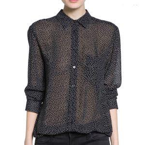 Printed lightweight blouse Mango Long Sleeve NEW